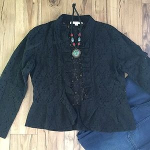 Erin London Black Lace Open Jacket, Sz M